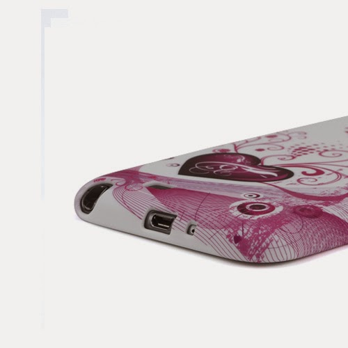 Two Hearts TPU Jelly Case for Samsung Galaxy Note 2 / II N7100