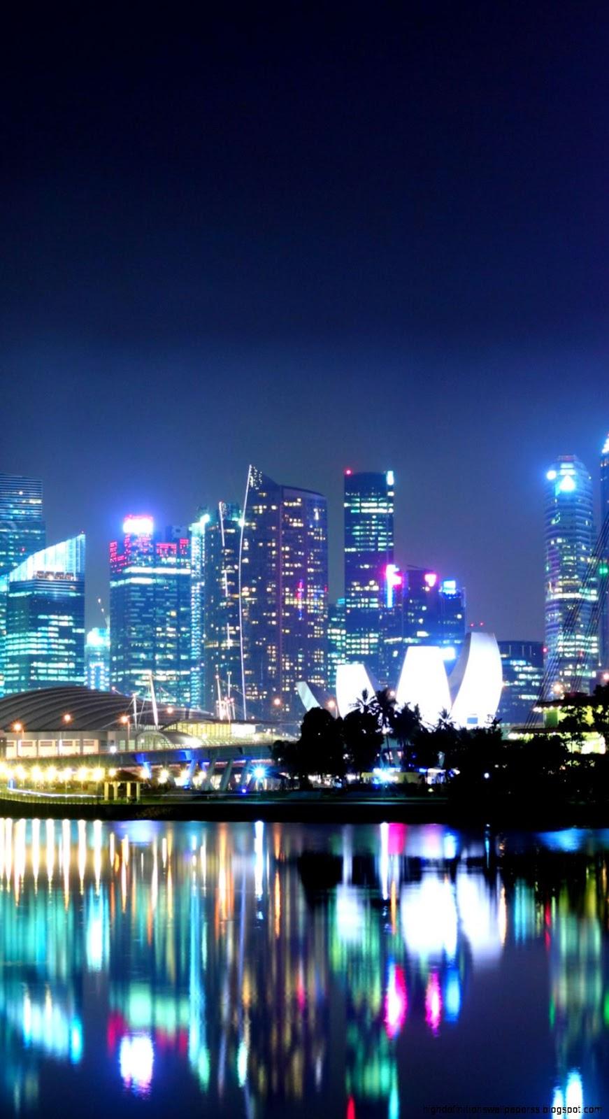 Skyline Singapore City At Night Hd Wallpaper