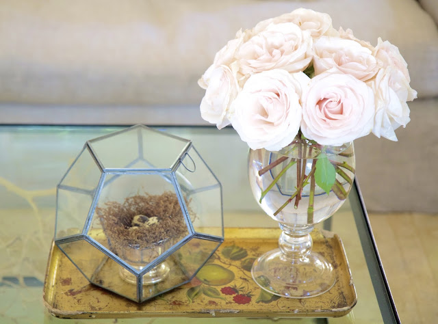 Before and After: Living Room in the Nest; Gold tray, quail egg nest, roses; Nora's Nest