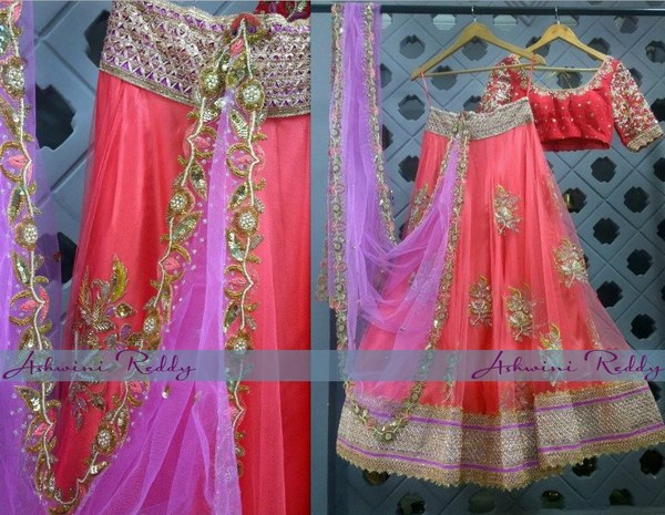 Peach Half Sari by Ashwini Reddy