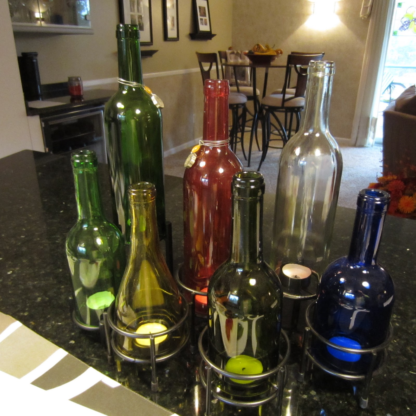 Wine bottle ornaments - Wine Bottle Holiday Candle Centerpiece