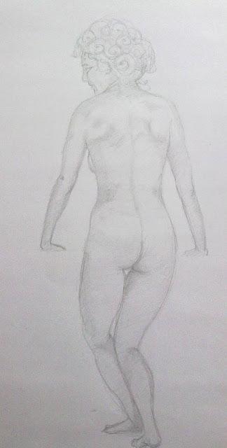desnudo femenino a lapiz de espaldas