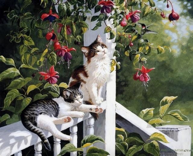 две кошки сидят на перилах
