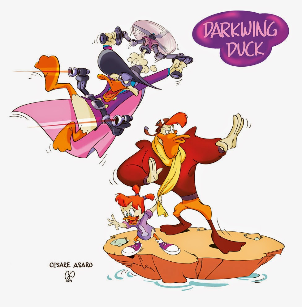 Illustration by Cesare Asaro - Darkwing Duck, Launchpad McQuack and Gosalyn Waddlemeyer-Mallard