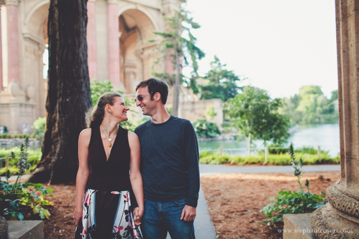 """sunset engagement session at the Palace of Fine Arts in San Francisco"""