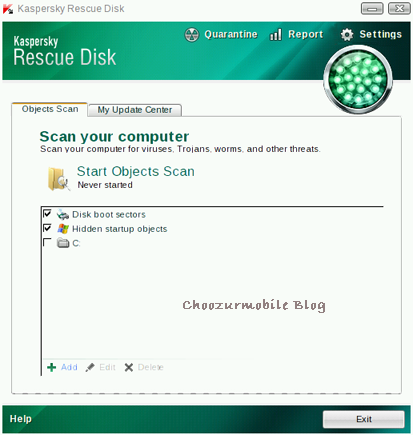 Kaspersky Bootable USB user interface