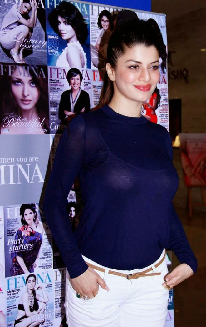 Kainaat Arora Hot Cleavage Transparent Blue Dress Photos