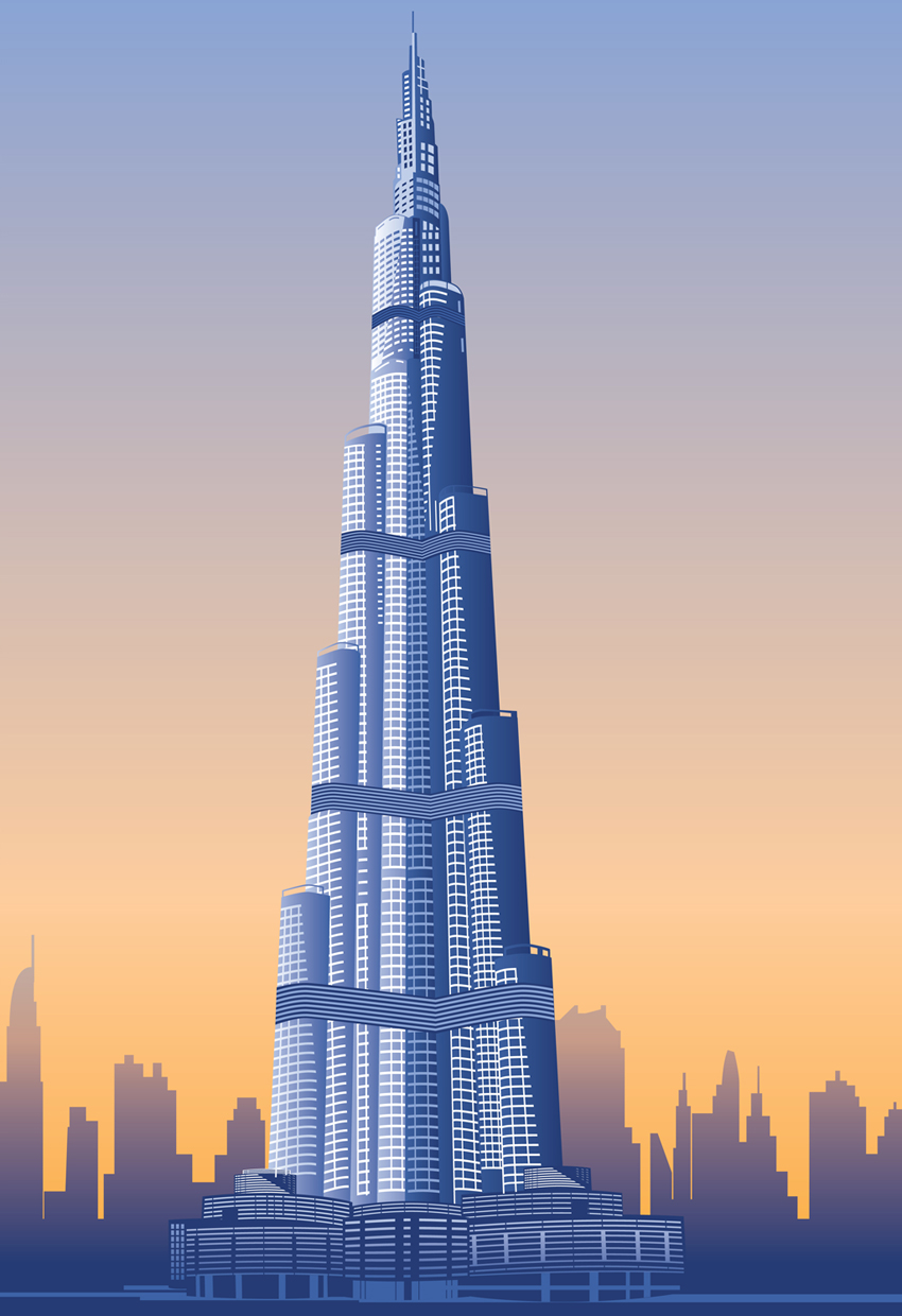 World visits burj khalifa world tallest tower inside for Burj khalifa sketch