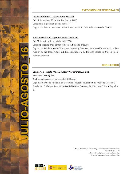 PROGRAMACIÓN MUSEO GONZÁLEZ MARTÍ DE VALENCIA-JUNIO 2016