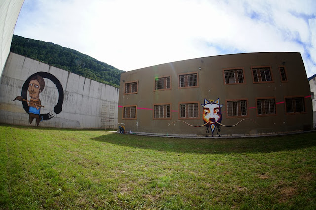 Street Art By Italian Urban Artist SeaCreative Inside an Ex-Prison in Tirano, Italy. 3
