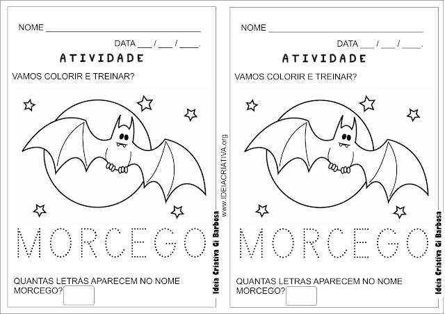Atividade Letra Pontilhada Halloween Morcego