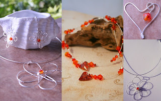 Wire work: sterling silver, swarovski: Flower Power, William's Fire, A son's heart :: All Pretty Things