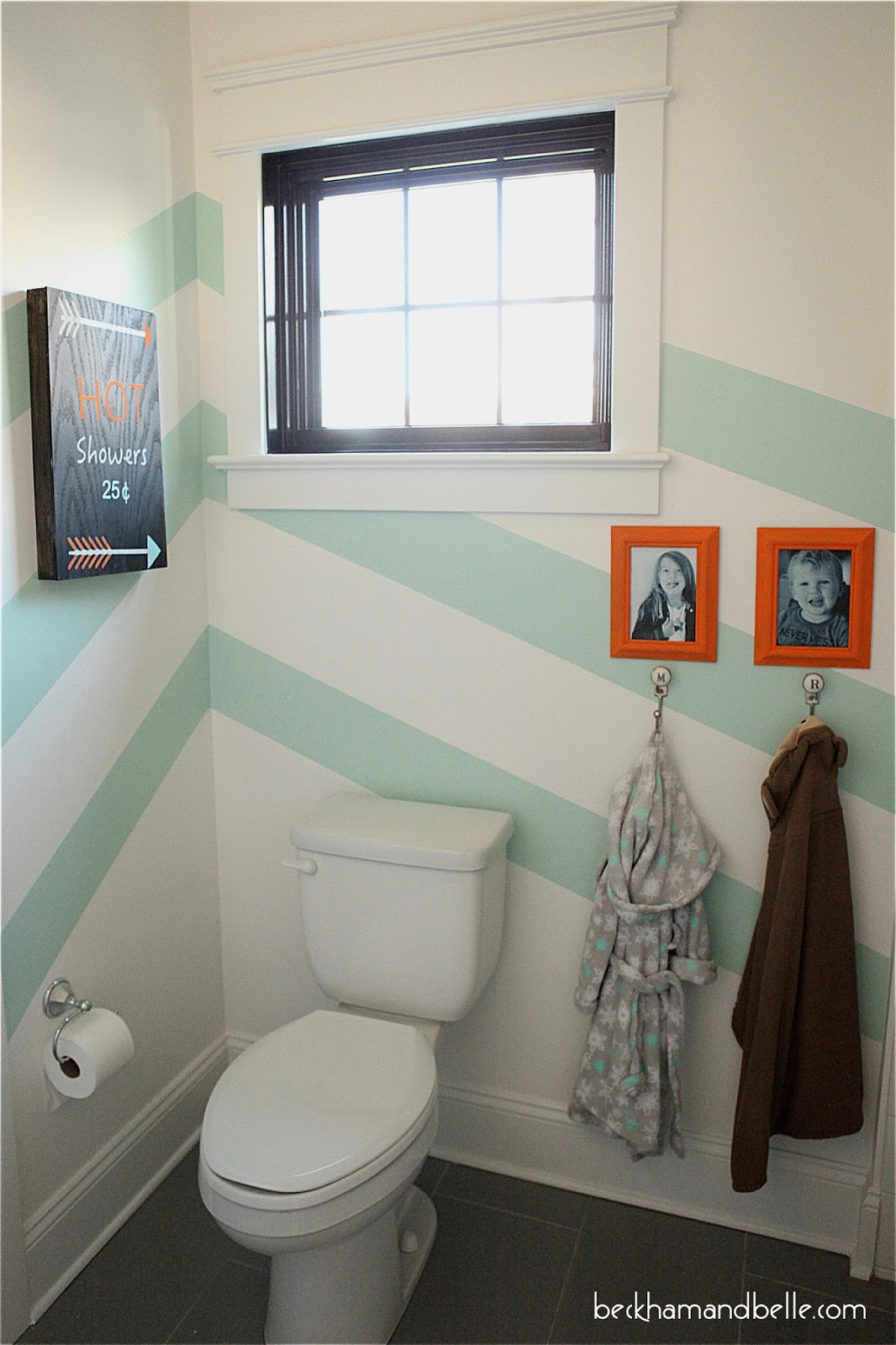 Gender Neutral Kids Bathroom Reveal - Diagonal Stripes