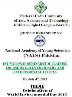 1st National Seminar-cum-Training Course on Green Chemistry and Environmental Effects