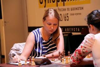 Échecs à Moscou - ronde 3 : Evjenia Ovod (2419) 0-1 Valentina Gunina (2507) - Photo © site officiel