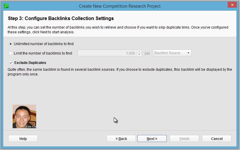 Seo-SpyGlass Step 3 : Configure Backlinks Collection Settings
