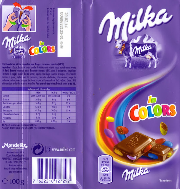 tablette de chocolat lait gourmand milka in colors