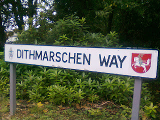 Dithmarschen Way sign in Restormel Council Offices, Cornwall