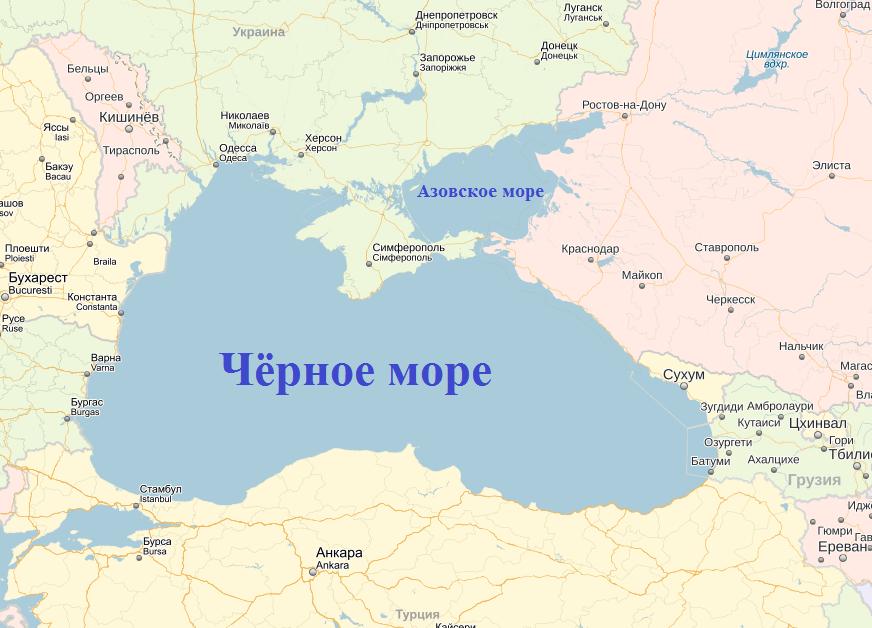 Где находиться черное море на карте мира