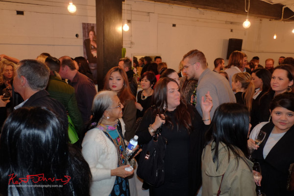 Fashion crowd, Surry Hills warehouse, Wolftress WE ARE WARRIORS, VIP Launch 2015 Photo by Kent Johnson.