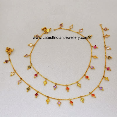 Pretty Gold Anklets Design