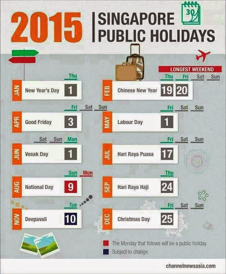 Singapore Public Holidays 2015