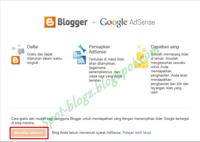 Cara Mengaktifkan Tombol Daftar Adsense Di Blog