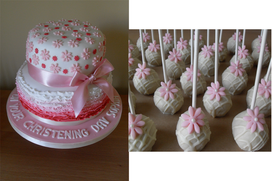 Christening Cake And Cake Pops