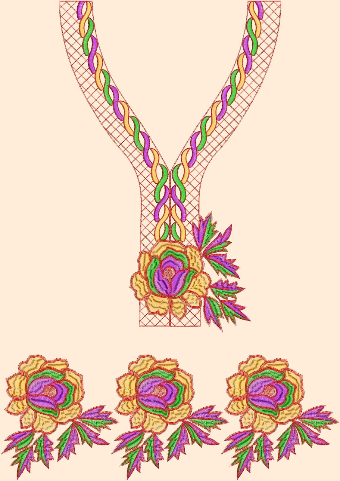 Casual Kurti Neck Collection Embroidery Designs