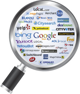 names of different search engine with magnifying glass