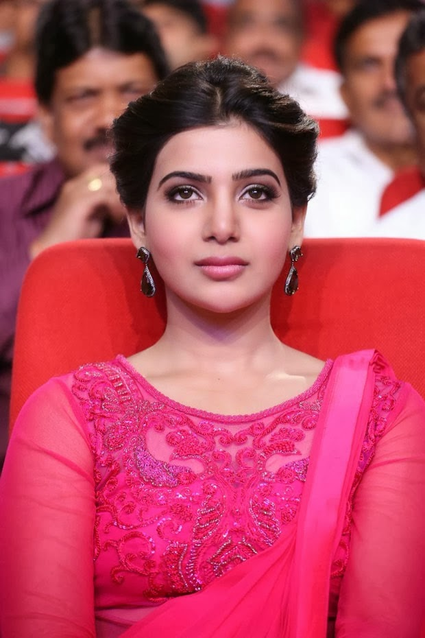 actress samantha latest pink net blouse photos