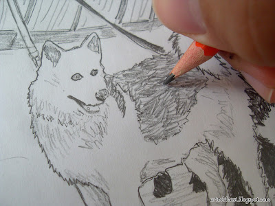 sketching shading techniques dog fur pencil linework