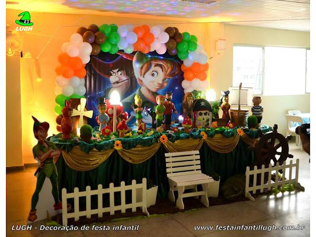 Peter Pan - mesa para decoração de festa de aniversário infantil de meninos com o tema do Peter Pan