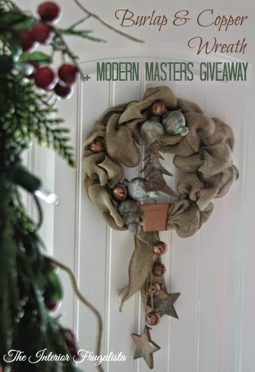 Burlap and Copper Holiday Wreath and Modern Masters Giveaway