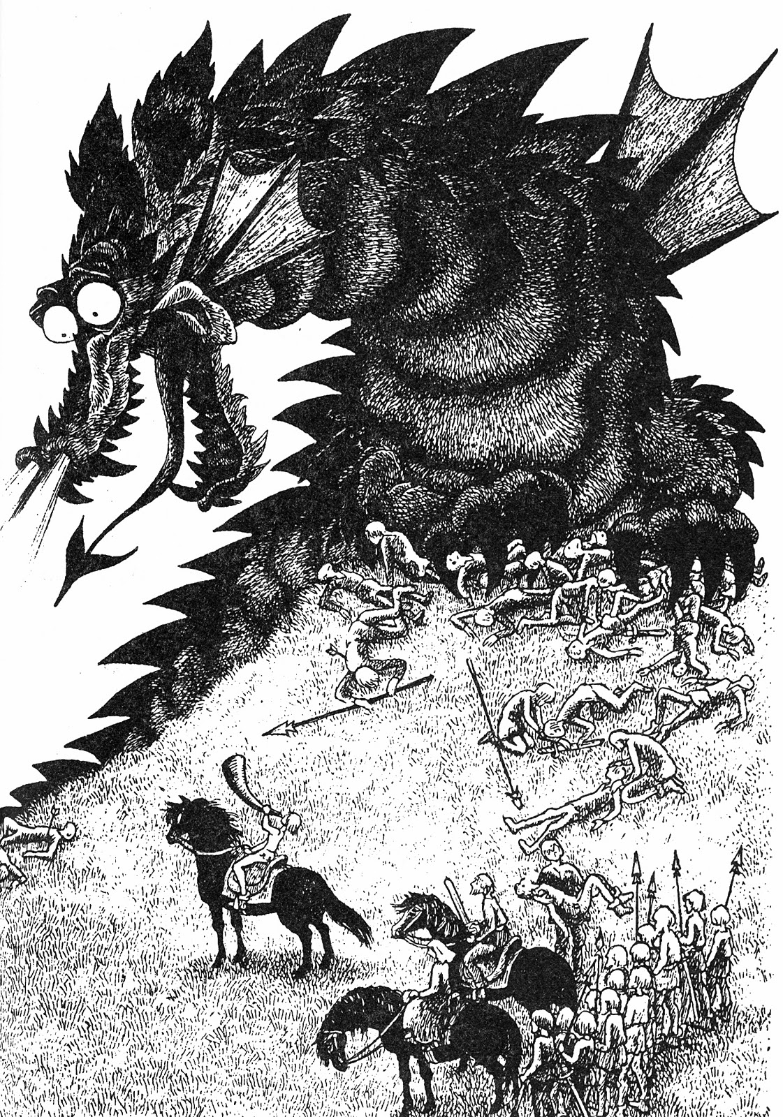 an image of Katla the terrible dragon by Ilon Wikland from the book The Brothers Lionheart
