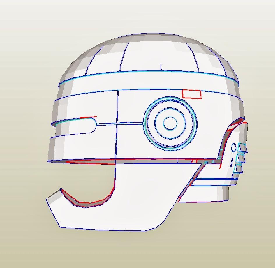 Dali lomo robocop costume helmet diy cardboard template pronofoot35fo Image collections