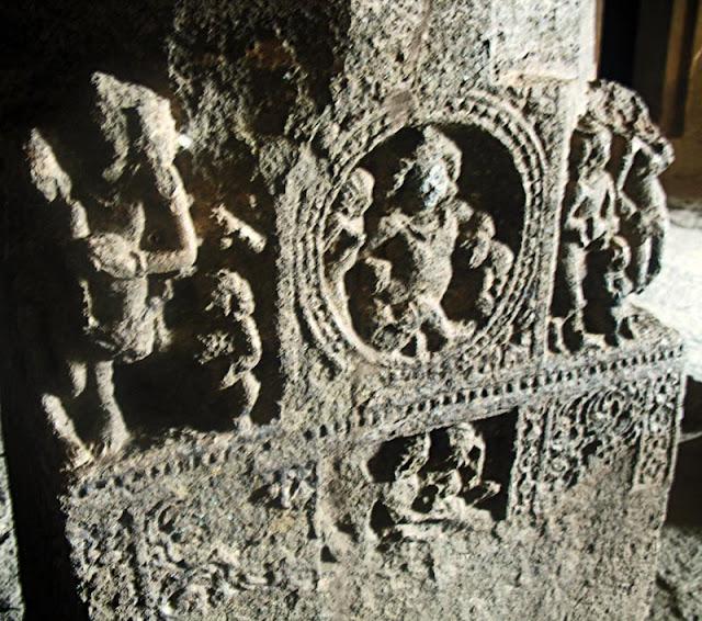 sculpted pillars at Aurangabad caves