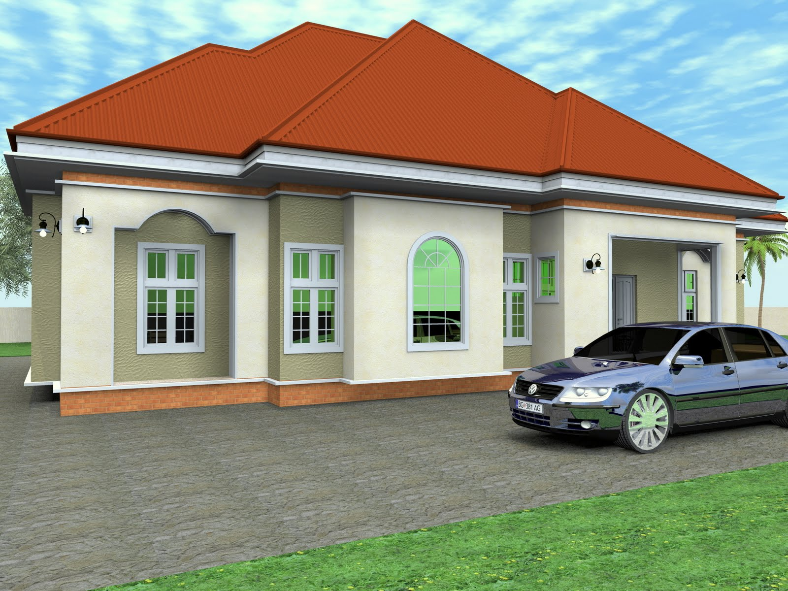 Residential homes and public designs 3 bedroom bungalow for Four bedroom bungalow