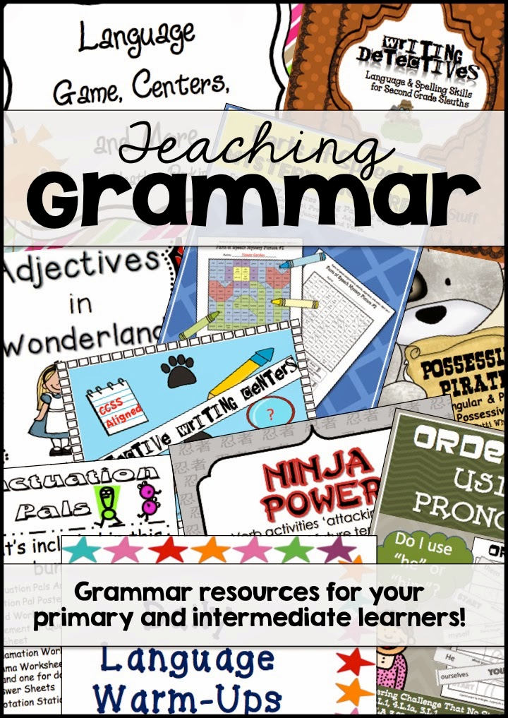 http://secondgradeperks.blogspot.com/2014/03/great-ideas-for-teaching-grammar.html