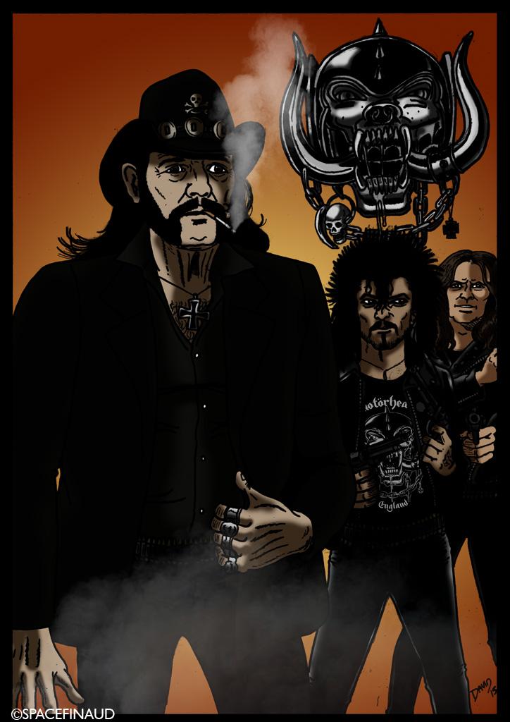 """MOTÖRHEAD, célèbre groupe de Heavy Metal fondé en 1975 par le maître Lemmy Kilmister, qu'on ne présente plus.     A la base, je voulais dessiner Lemmy en solo. Mais suite au décès de Phil Taylor, le 11 novembre dernier, j'avais décidé de dessiner le groupe au complet, avec le guitariste, Fast Eddie Clarke. C'était avec ce line-up d'origine qu'on découvrait ces morceaux comme """"Ace Of Spades"""", """"Overkill"""" et """"Please Don't Touch"""" en duo avec le groupe féminin Girlschool."""