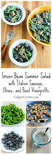 Green Bean Summer Salad with Italian Sausage, Olives, and Basil Vinaigrette [from KalynsKitchen.com]