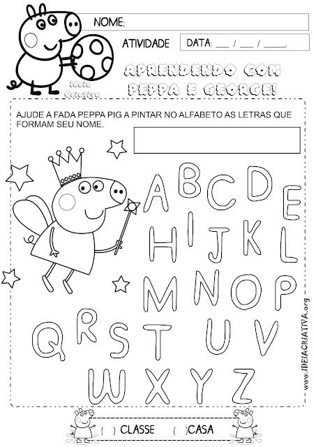 Atividade Letras do Alfabeto Peppa Pig