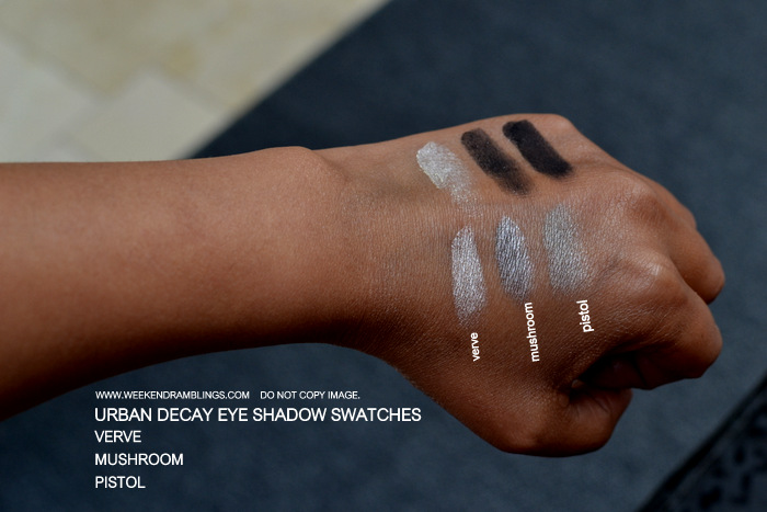 Urban Decay Makeup Eye Shadow Swatches Pistol, Mushroom Verve Indian Beauty Blog