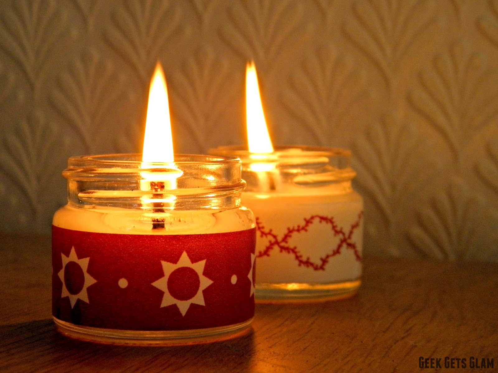 Easy diy christmas candles with 24daysofwren geek for How to make christmas candle holders