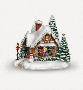 2014 Teleflora Thomas Kinkade Cottage, A Kiss For Santa