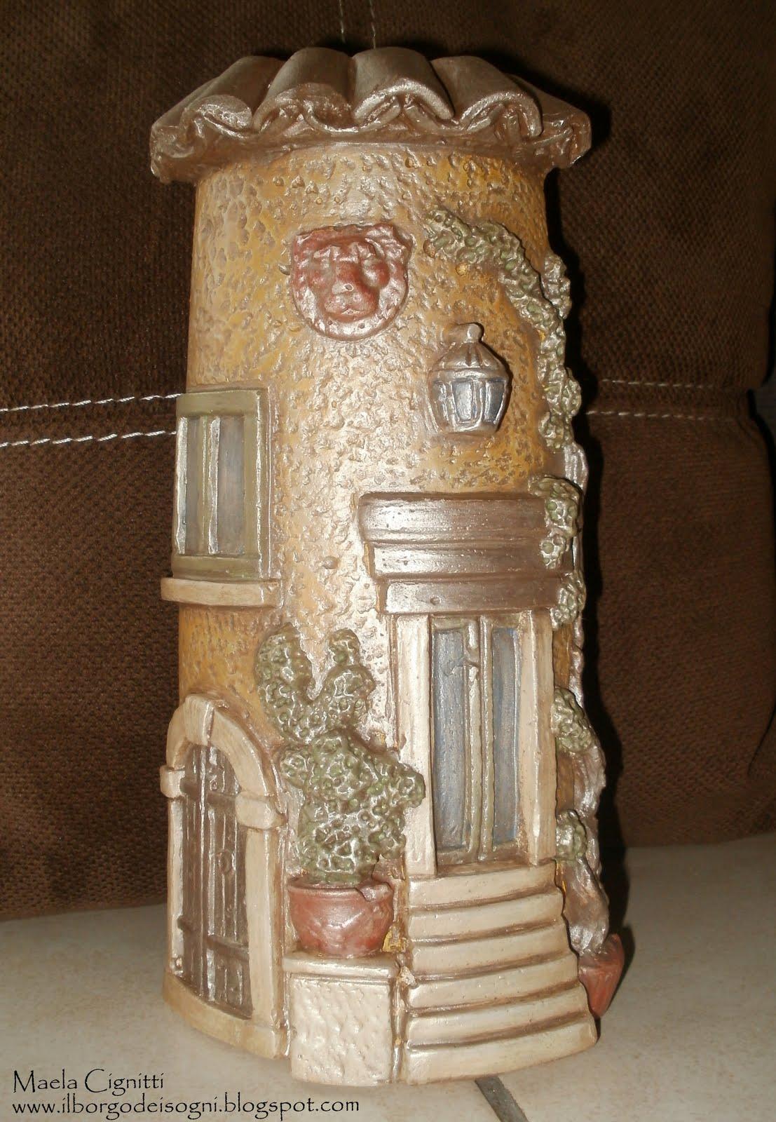 Il borgo dei sogni tegola in soft painting - Tegole decorate in rilievo ...