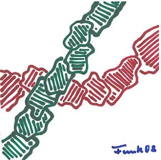 Zeichnung Bild / painting picture : grün über rot / green above red