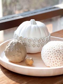 citrouilles blanche deco sculpture