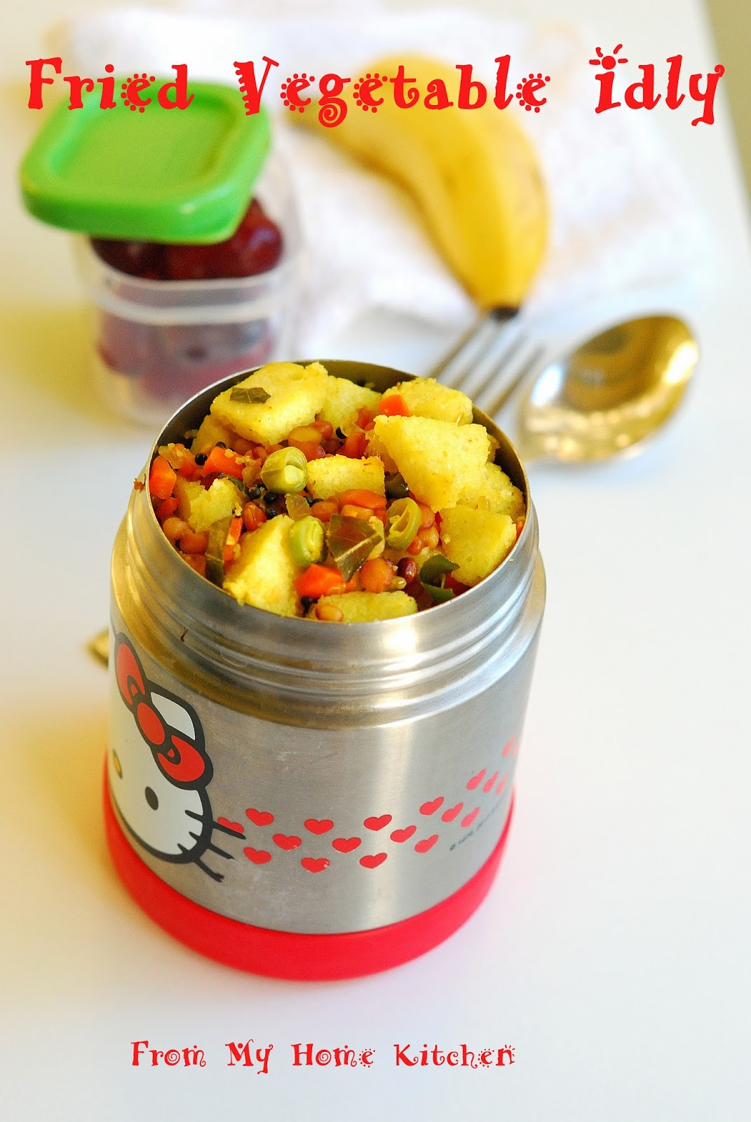 Fried Vegetable Idly Kids Lunch Box Recipe Easy