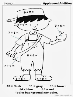 Johnny Appleseed Freebie on Print For Math Superstars Worksheets